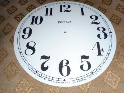 For American Clocks-Round Ingraham Paper Clock Dial-140mm M/T-GLOSS WHITE/Spares