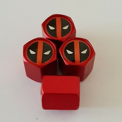 DEADPOOL Wheel Valve Dust caps all models 4 COLOURS all cars Bikes MATTE RED
