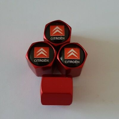 CITROEN Wheel Valve Dust caps all models 4 COLOURS all cars Bikes MATTE RED
