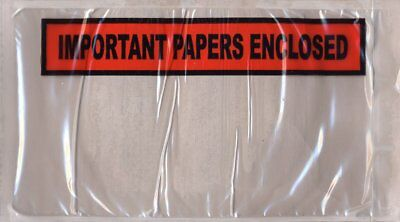 """1000 Pack of Packing envelopes 5.5"""" x 10"""".""""Important Papers Enclosed"""" Print..."""