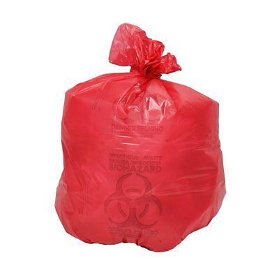 """Medical Waste Trash Bags 30"""" x 43"""". Pack of 200 red infectious Waste Bags."""