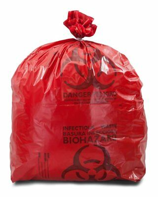 """Medical Waste Trash Bags 24"""" x 30"""". Pack of 200 red infectious Waste bags. 3 mil"""