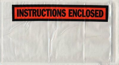 """1000 Pack of Packing envelopes 5.5"""" x 10"""".""""Instructions Enclosed"""" Print..."""