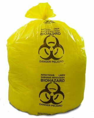 """Infectious Linen Trash Bags 37"""" x 50"""". Pack of 150 Yellow Medical Waste Bags."""