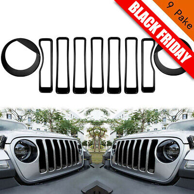 XBEEK Headlight Covers Trim and Front Grille Inserts Covers for 2018 Jeep Wrangler JL Black /… Pack of 9