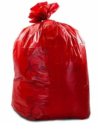 """Medical Waste Trash Bags 30"""" x 43"""". 100 Pack red infectious Waste Bags. 3.2 mil"""