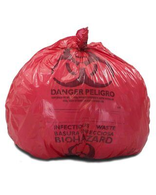 """Medical Waste Trash Bags 24"""" x 23"""". Pack of 500 red infectious Waste Bags."""