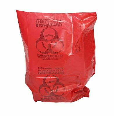 """Medical Waste Trash Bags 24"""" x 32"""". Pack of 500 red infectious Waste Bags."""
