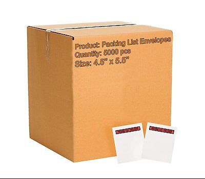 Pack of 5000 Packing List Envelopes 4.5 x 5.5 Packing List Enclosed 4 1/2 x 5...