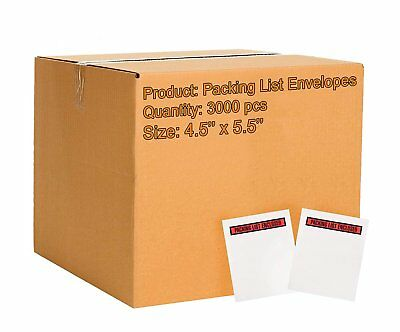 Pack of 3000 Packing List Envelopes 4.5 x 5.5 Packing List Enclosed 4 1/2 x 5...