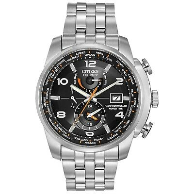 Citizen Eco-Drive Men's World Time Atomic Chronograph 43mm Watch AT9010-52E