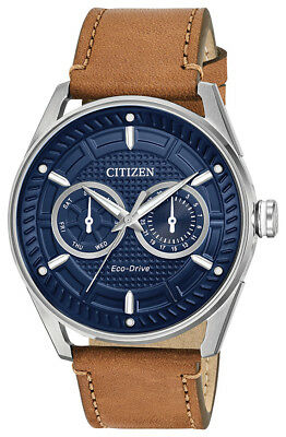 Citizen Eco-Drive CTO Men's Blue Dial Brown Leather Strap 42mm Watch BU4020-01L