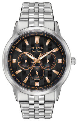 Citizen Eco-Drive Corso Men's Rose Gold Accents Black Dial 44mm Watch BU2070-55E