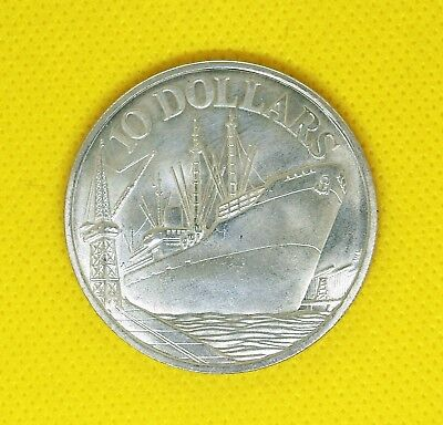 """1975 Singapore (.500) Silver """"Independence"""" 10 Dollar Coin"""