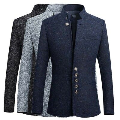 Business Casual Woolen Coats Men's Slim Fit Long Over Coat Solid Leisure Jackets