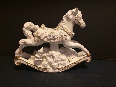 Porcelain Rocking Horse Sculpture White With Gold Accent Christmas Decoration