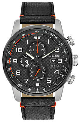 Citizen Eco-Drive Primo Men's Chronograph Black Leather 45mm Watch CA0681-03E