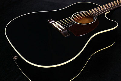Gibson J-45 Cutaway Ebony Round shoulder Acoustic guitar with HardCase OUTLET