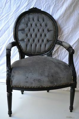 LOUIS XVI ARM CHAIR FRENCH STYLE CHAIR VINTAGE FURNITURE grey velvet BLACK