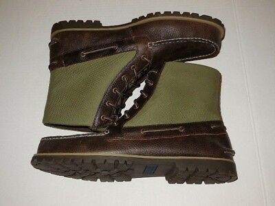 2c68e1a944c SPERRY TOP-SIDER CARSON Boot Dark Brown Leather/ Green Canvas MENS size  11.5 M
