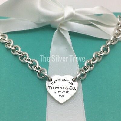 Please Return To Tiffany & Co Center Heart Tag Sterling Silver Bracelet