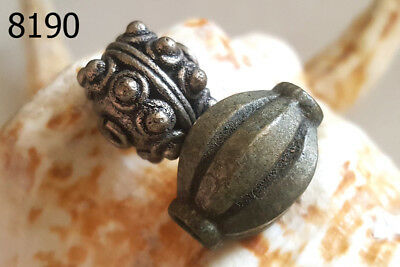 Lot 2 Vintage Alloy Silver Islamic Metal Collared Stratified Bead Handmade #8190