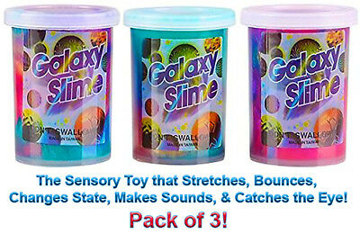 Rainbow Silly Putty Slime, Fun Sensory & Motor Skills Toy Gift for Kids! 3 PACK
