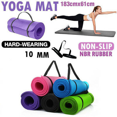 Yoga Mat 10mm Large Thick For Exercise Gym Fitness Workout Non Slip Carry Strap