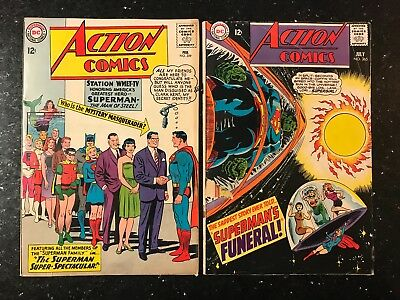 Action Comics #309 JFK & #365 Superman's Funeral! *DUO* DC SILVER AGE