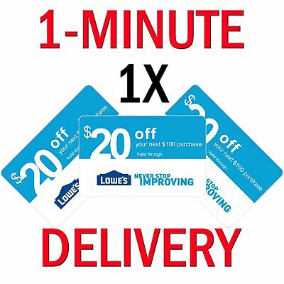 𝟏× Lowes $20 OFF $100Coupon Exp 𝟔/𝟐𝟎/𝟏𝟗 In-Store/Online - Instant Delivery