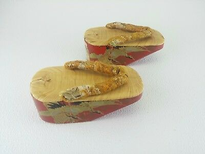 RARE Vintage Japanese Wooden Lacquer Maiko Geisha Geta Sandal Shoes Antique 30s?