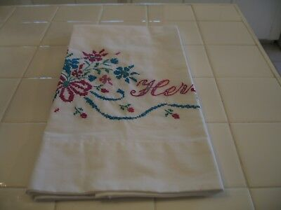 Beautiful Vintage Embroidered Cross Stitched Floral Hers Standard Pillowcase