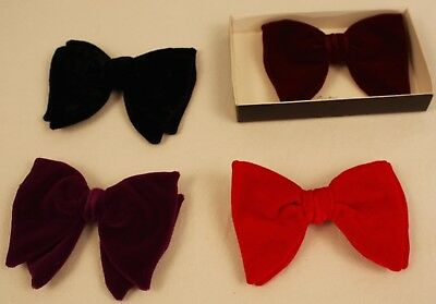 4 MENS CLIP ON VELVET BOW TIES  ORIGINAL VINTAGE  FROM THE 1970s