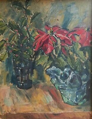 Janis Silins  1896-1992 Latvian / Amer Expressionist Holly & Poinsettia Riga Oil