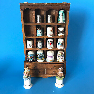 Miniature Thimbles with Wooden Display Shelf Lot of 15
