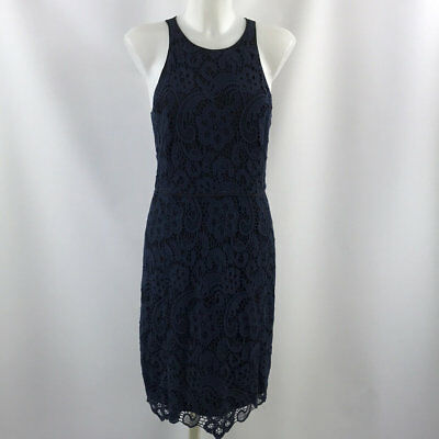 37cce0f671 REBECCA TAYLOR BLUE White Meteor Sleeveless Linen Dress Size Small ...