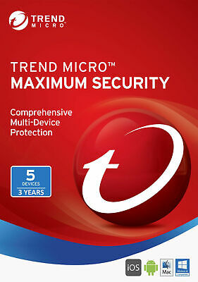 Trend Micro Maximum Security Newest Version 5 PC User 3 Year 2018 2019