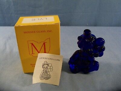 Lyle Mosser Clown Collectible Figurine With Box - Cobalt Blue Glass