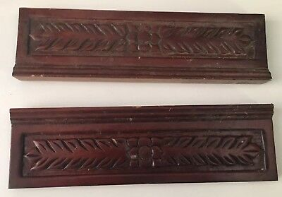 2 Vtg Wood Architectural Salvage Carved Mahogany Pediments Repurpose 11.5""