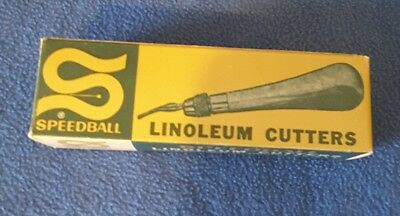Vintage 1930 Speedball Linoleum Cutter + blades, original box