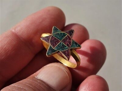 Medieval Gold Ring, the Star of David, a symbol of Judaism & Colour Glass Inlay
