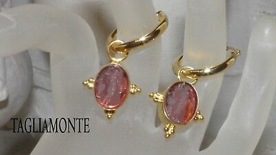 Sale*TAGLIAMONTE(951)Charm Hoop Earrings*YGP925*Oval Purple Venetian Intaglio