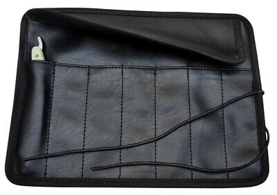 7-day straight razor black faux leather roll/case by Windrose