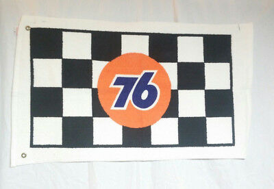 Vintage 76 Gas Station Racing Advertising Terry Towel w/ Grommets Checkerboard