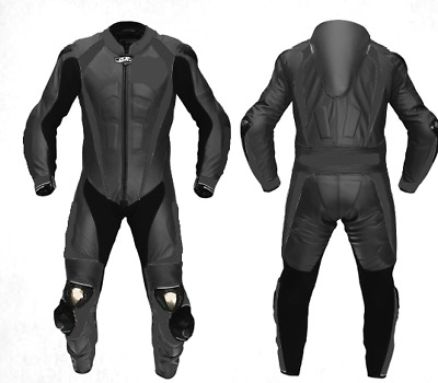 NEW BLACK SPORTS-1 Piece-Motorbike/Motorcycle Riding Leather Racing Suit-MotoGp