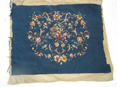 """Vintage FLORAL Needlepoint Canvas Finished Pillow or chair cover 25x20"""" Sq for 2"""