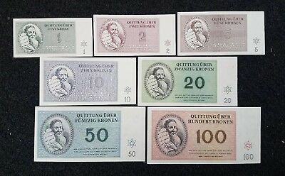 Ww2 Theresienstadt 7 Note Set Uncirculated Ghetto Concentration Camp 1943 Script