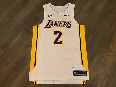 new arrival bb94c ae4c7 AUTHENTIC NIKE LA LAKERS LONZO BALL Alternate White Jersey 44 Wish Patch BBB