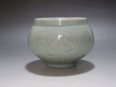 Chinese Longquan kiln Green porcelain Bowl carved flowers Buddhism old alms bowl