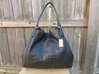 a92a6e0b86 Coach Edie Large Black Leather Embossed Horse Carriage Shoulder Bag Purse  33728